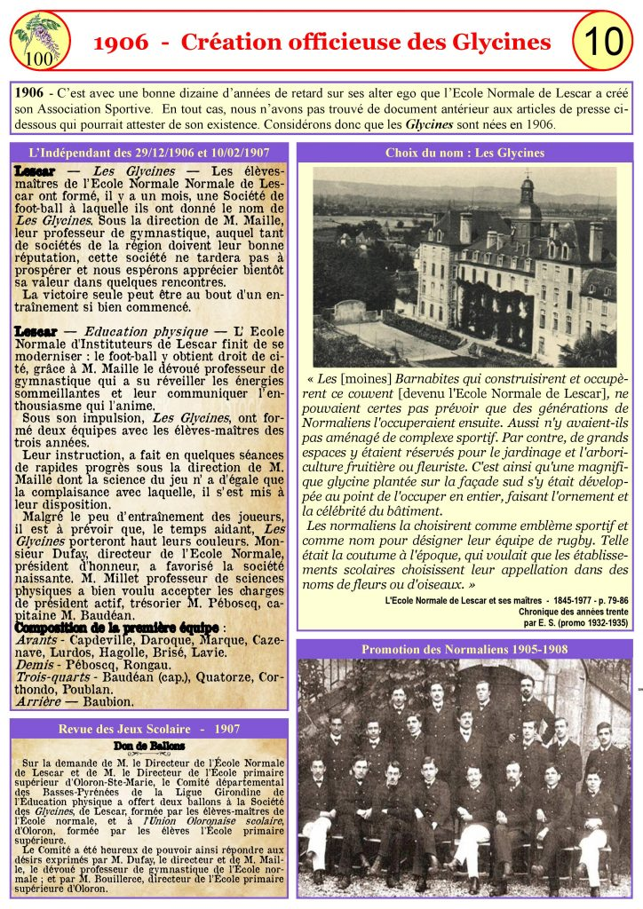 1906-Création officieuse des Glycines