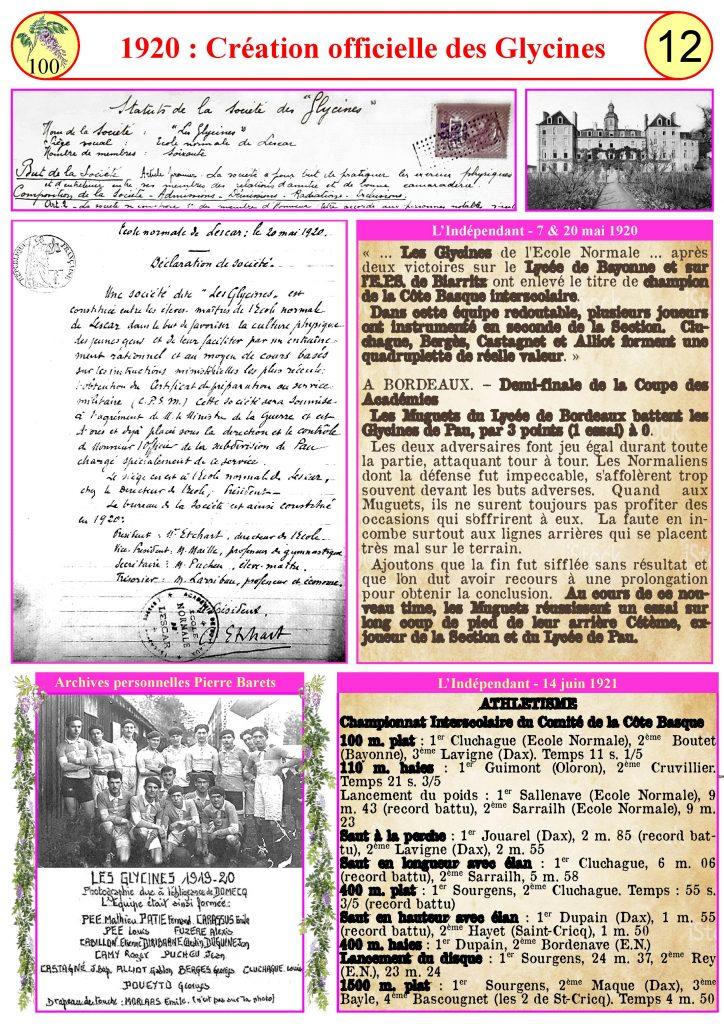 1920-Création officielle des Glycines