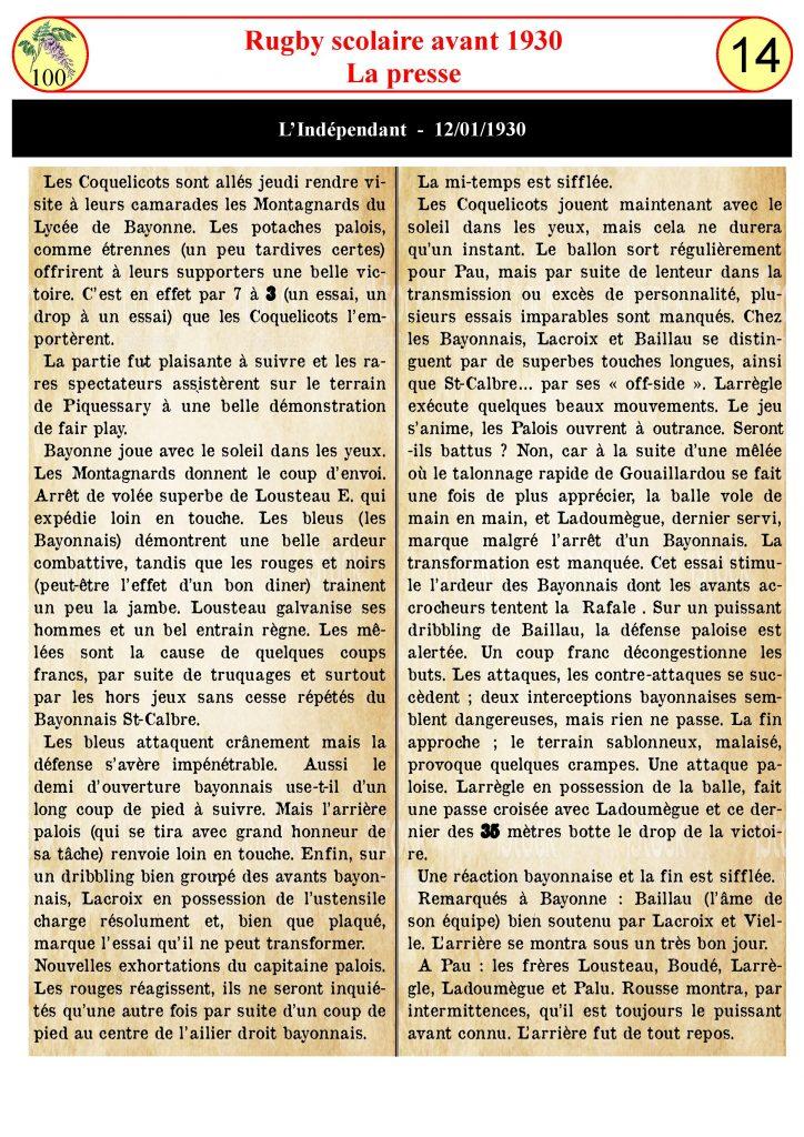 Le rugby avant 1930 - La presse
