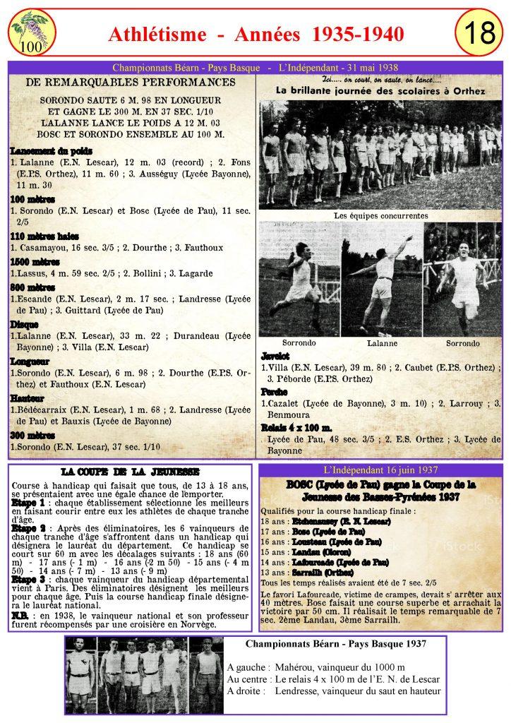 Athlétisme de 1935 à 1940